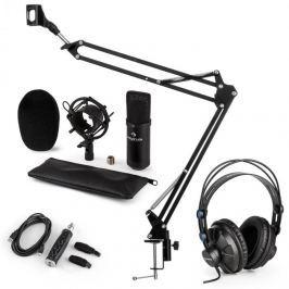 Auna CM001B mikrofon készlet V3 fülhallgató, kondenzátoros mikrofon, USB adapter, mikrofonkar, fekete