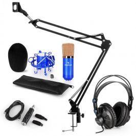 Auna CM001BG mikrofon készlet V3 fülhallgató, kondenzátoros mikrofon, USB adapter, mikrofonkar, kék