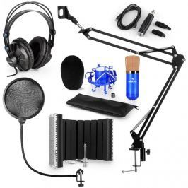 Auna CM001BG mikrofon készlet V5 fülhallgató, USB konverter, mikrofonkar, pop szűrő, panel, kék