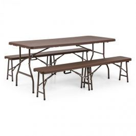 Blumfeldt Burgos, kerti bútor készlet, háromrészes, asztal+ két pad, acél, HDPE, összecsukható, barna
