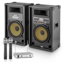 """OneConcept """"Yellow Star 12"""" PA-party készlet, max. 1200 W, PA rendszer, kétcsatornás auna VHF rádió mikrofon"""