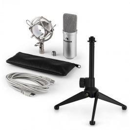 Auna auna MIC-900S V1 USB mikrofon szett, ezüst kondenzátor mikrofon | asztali állvány