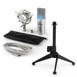 Auna auna MIC-900S-LED V1 USB mikrofon szett, ezüst kondenzátor mikrofon | asztali állvány