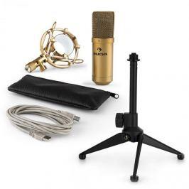 Auna auna MIC-900G V1 USB mikrofon szett, arany kondenzátor mikrofon | asztali állvány
