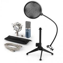 Auna auna MIC-900BL V2, USB mikrofon készlet, kondenzátoros mikrofon + pop szűrő + asztali állvány