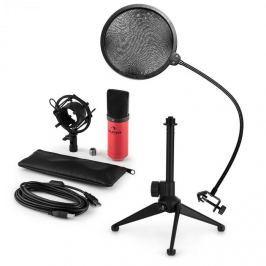 Auna auna MIC-900RD-LED V2, háromrészes USB mikrofon készlet, kondenzátoros mikrofon + pop szűrő + asztali állvány