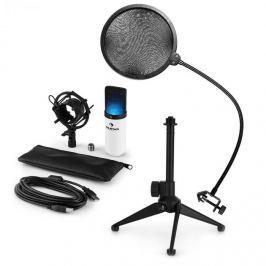 Auna auna MIC-900WH-LED V2, háromrészes USB mikrofon készlet, kondenzátoros mikrofon + pop szűrő + asztali állvány