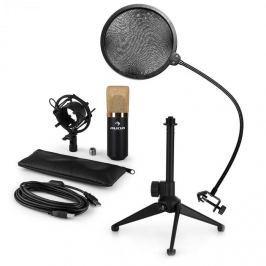 Auna auna MIC-900BG-LED V2, háromrészes USB mikrofon készlet, kondenzátoros mikrofon + pop szűrő + asztali állvány