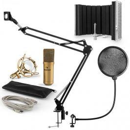 Auna MIC-9005G V5, mikrofon készlet, kondenzátoros mikrofon, reszorpciós panel, kar, pop szűrő, arany
