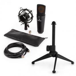 Auna auna MIC-920B USB mikrofon készlet V1 - fekete nagy membrános mikrofon és asztali állvány