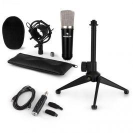 Auna auna CM003 mikrofon készlet V1, kondenzátoros mikrofon, USB-konverter, mikrofon állvány