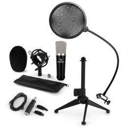 Auna auna CM003 mikrofon készlet V2, kondenzátoros mikrofon, USB-konverter, mikrofon állvány, pop szűrő