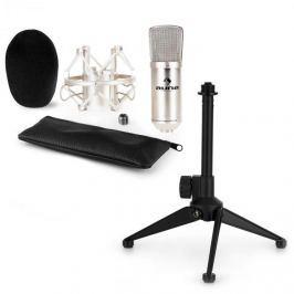Auna auna CM001S mikrofon készlet V1 - ezüst stúdió mikrofon pókkal és asztali állvánnyal