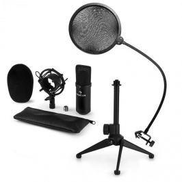 Auna auna CM001B mikrofon készlet V2 - kondenzátoros mikrofon, mikrofon állvány, pop szűrő, fekete