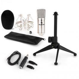 Auna auna CM001S mikrofon készlet V1, kondenzátoros mikrofon, USB-adapter, mikrofon állvány, ezüstszínben