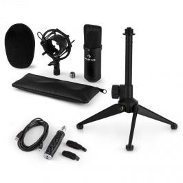 Auna auna CM001B mikrofon készlet V1, kondenzátoros mikrofon, USB-adapter, mikrofon állvány, fekete Mikrofon kábelek