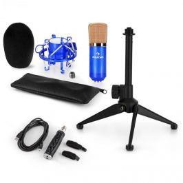 Auna auna CM001BG mikrofon készlet V1, kondenzátoros mikrofon, USB-adapter, mikrofon állvány, kék