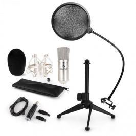 Auna auna CM001S mikrofon készlet V2, kondenzátoros mikrofon, USB-adapter, mikrofon állvány, ezüstszínben