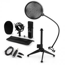 Auna auna CM001B mikrofon készlet V2, kondenzátoros mikrofon, USB-adapter, mikrofon állvány, fekete
