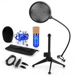 Auna auna CM001BG mikrofon készlet V2, kondenzátoros mikrofon, USB-adapter, mikrofon állvány, kék