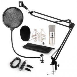 Auna CM001S mikrofon készlet V4 kondenzátoros mikrofon, USB adapter, mikrofonkar, pop szűrő, ezüst