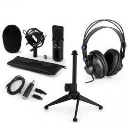 Auna auna CM001S V1 mikrofon szett, fejhallgató, kondenzátor mikrofon, USB adapter, állvány, fekete