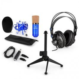 Auna auna CM001BG V1 mikrofon szett, fejhallgató, kondenzátor mikrofon, USB adapter, állvány, kék