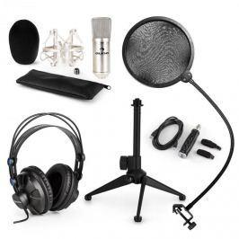 Auna auna CM001S V2 mikrofon szett, fejhallgató, kondenzátor mikrofon, USB adapter, állvány, pop filter, ezüst