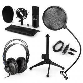 Auna CM001B V2 mikrofon szett, fejhallgató, kondenzátor mikrofon, USB adapter, állvány, pop filter, fekete