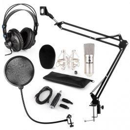 Auna CM001S mikrofon készlet V4 fülhallgató, kondenzátoros mikrofon, USB adapter, mikrofonkar, pop szűrő