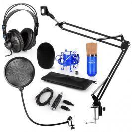 Auna CM001BG V4 mikrofon szett, fejhallgató, kondenzátor mikrofon, USB adapter, mikrofon kar, pop filter