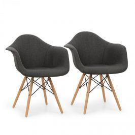 OneConcept Visconti kagylóüléses szék, 2-részes készlet, párnázott, PP-konstrukció, nyírfa, szürke
