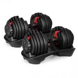 Klarfit AD 5255 kettő egykezes súlyzó, 2,5 és 24 kg között szabályozható, tartó állvány, fekete