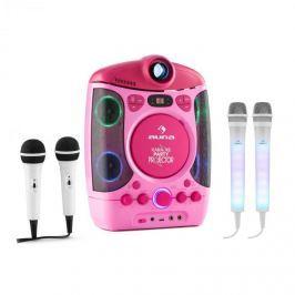 Auna Kara Projectura karaoke rendszer, rózsaszín + Dazzl mikrofon készlet, LED megvilágítás