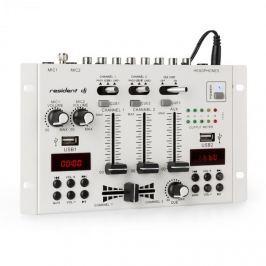 Resident DJ 22BT 2CH, 3-/2-csatornás keverőpult, 2 x USB, 3 x 6,3mm jack, fehér