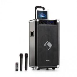 "Auna Moving 120, PA rendszer, 2x8"" woofer, max. 60 / 200 W, VHF mikrofon, USB, SD, BT, AUX, hordozható"