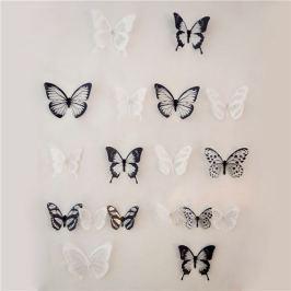 Öntapadós falmatrica, 3D-s pillangók, fekete-fehér, 18 db