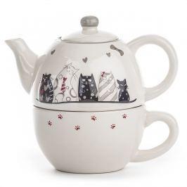 Cicás Kerámia teáskanna csészével
