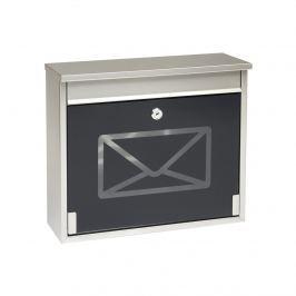 Rozsdamentes acél postaláda edzett üveggel, fekete