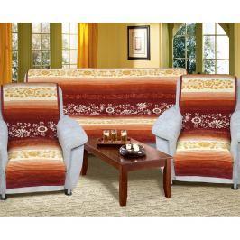 Bellatex Karmela plus Virágok kanapétakaró szett méz színű, 150 x 200 cm, 2 db 65 x 150 cm
