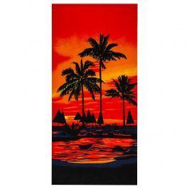 Pálmák strandtörölköző, piros, 70 x 150 cm