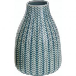 Porcelán váza Knit kék, 16 cm
