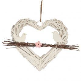 Rattan szív madarakkal ágon függeszthető  dekor elem