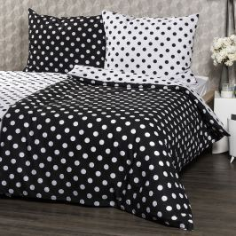 4Home pamut ágynemű, fekete pöttyös, 140 x 200 cm, 70 x 90 cm, 140 x 200 cm, 70 x 90 cm