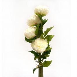 Művirág bazsarózsa fehér, 4 fejes készlet