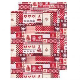 Karácsony konyharuha piros, 50 x 70 cm, 2 db-os szett