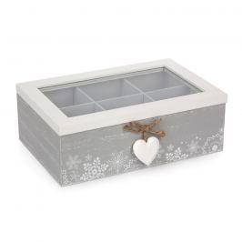 Love Winter Doboz rekeszekkel szürke, 23 x 16 cm