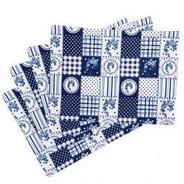 Country tányéralátét kék patchwork mintás, 33 x 45 cm, 4 db-os szett