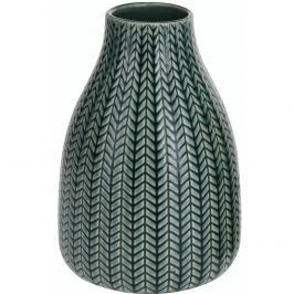 Porcelán váza Knit sӧtét zӧld, 16 cm