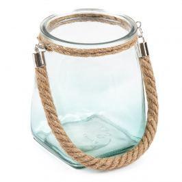 Üveg gyertyatartó, kék